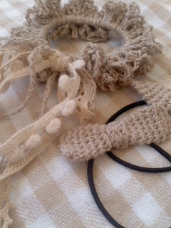 やっと退院*リネン糸の編みシュシュ&ヘアゴム